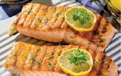 рецепты для барбекю, нежный лосось на гриле