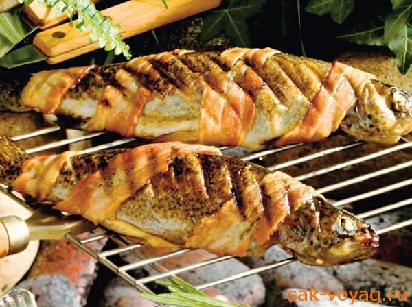 Рыба на мангале форель