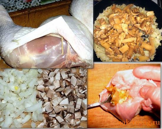 рецепты для нового года, куриные окорока начиненые грибами
