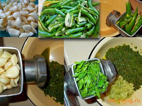 Как сделать зеленую аджику из перцев