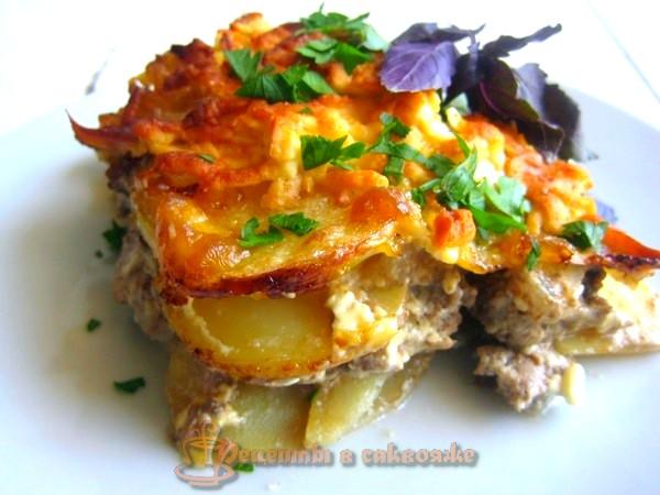 Картофель запеченный с мясом, пошаговый рецепт приготовления с фото
