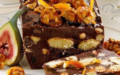 как приготовить шоколадный батон из печенья с орехами