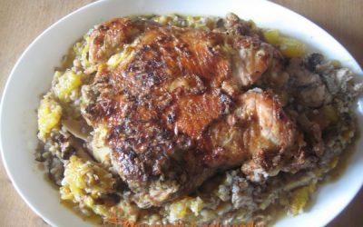 фаршированая курица грибами и гречкой