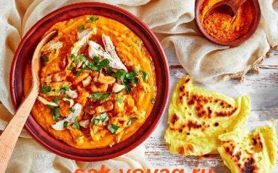 Крем-суп из чечевицы и кокосового молока с куриной грудкой (рецепт без лактозы)